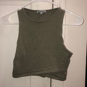 olive green cropped tank top